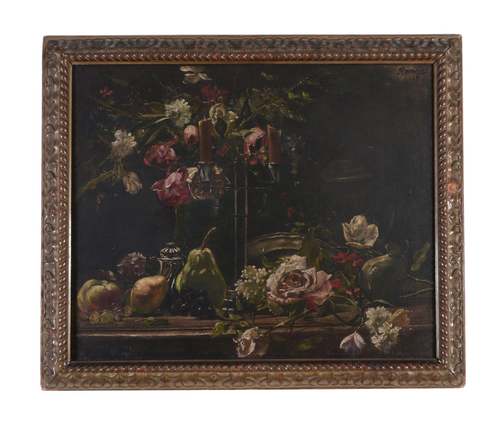 Attributed to Jozsef Rippl-Ronai Still life with flowers and fruit Oil on... Attributed to Jozsef - Image 2 of 4