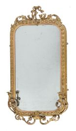 Lot 413 - A Victorian giltwood and composition girandole wall mirror, second half 19th century, with rococco