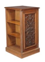 Lot 279 - A late Victorian oak free standing bookcase , circa 1890, one panel side with applied moulding with