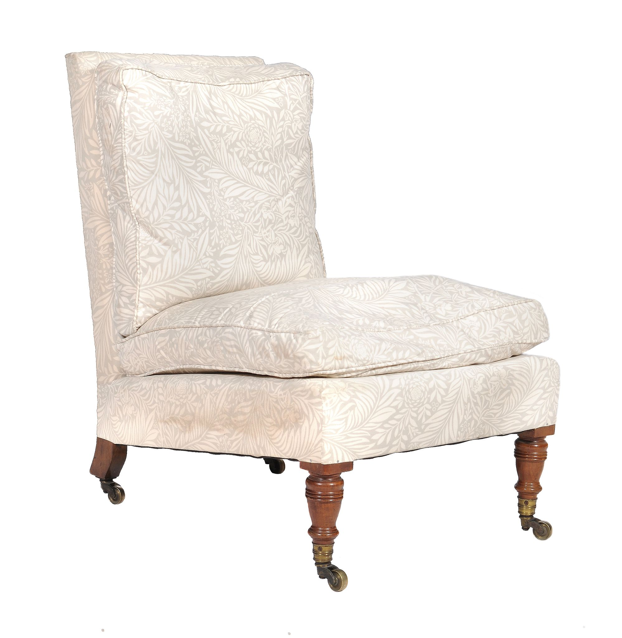 Lot 412 - A Victorian walnut and upholstered low chair by Howard & Sons, last quarter 19th century, one rear