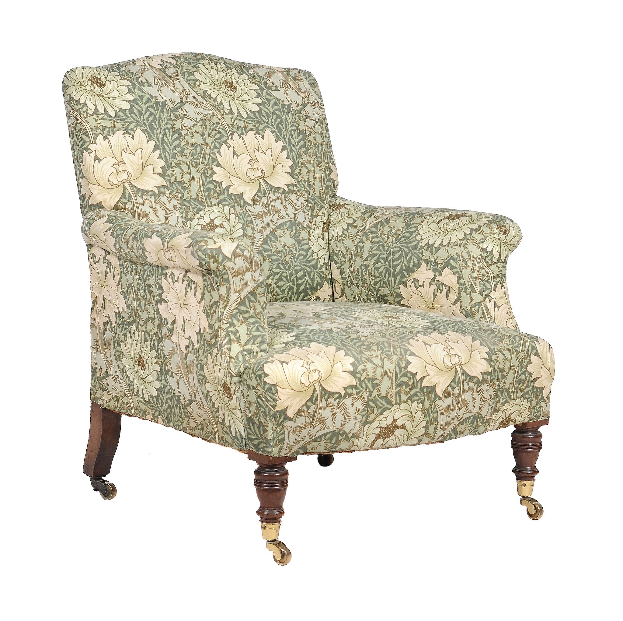 Lot 280 - A Victorian walnut and upholstered armchair by Howard and sons , last quarter 19th century, one leg