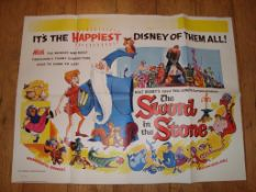 """THE SWORD IN THE STONE (1963) Re-Release UK Quad Film Poster (30"""" x 40"""") Folded"""