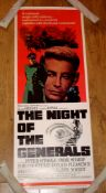 """THE NIGHT OF THE GENERALS (1967) US Insert (36"""" x 14"""") Starring Peter O'Toole and Omar Sharif."""