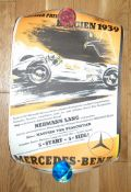 MERCEDES BENZ BELGIAN GRAND PRIX Victory Poster. (1939) Rolled - Faded