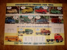 "AUTOMOBILIA - A 1954 fold out double sided poster brochure for Chevrolet Trucks (20"" x 28"" -"