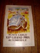 AUTOMOBILIA - A Monte Carlo XIIme Grand Prix Automobilie Programme, 1954