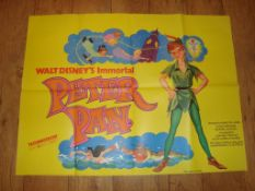 """PETER PAN (1953) Re-Release UK Quad (30"""" x 40"""") Folded Film Poster"""
