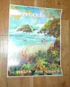 DELTA AIRLINES (1970s) Bermuda Travel Poster impressionist style art by Jack William Laycox. Rolled