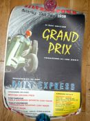 SILVERSTONE FORMULA ONE RACE POSTER - Grand Prix Racing- Daily Express. (1958) Rolled