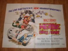 "HERBIE RIDES AGAIN (1974) UK Quad Film Poster (30"" x 40"") Folded"