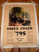 "ESSEX COACH - Automobilia Advertising Poster circa 1926- US - (35"" x 47"") Rolled - Linen Backed"
