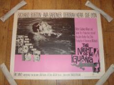 "THE NIGHT OF THE IGUANA (1964) US Half Sheet (22"" X 28"") Starring Richard Burton. Rolled"