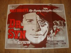 """DOCTOR SYN, ALIAS THE SCARECROW (1963) Film Poster Re-Release UK Quad (30"""" x 40"""") Folded"""