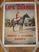 """JOIN THE LIFEGUARDS (C1950s) UK Printed - (20"""" x 26"""") Rolled - Linen Backed"""