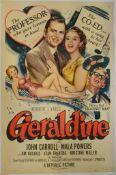 "GERALDINE (1953) US One Sheet (27"" x 41"") (John Carroll and Mala Powers) Style A Artwork. Folded."