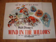 """WIND IN THE WILLOWS (??) UK Quad (30"""" x 40"""") Folded Film Poster"""
