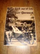"AUTOMOBILIA - A Harley Davidson 1925 Model Advertising Poster 'Get a Kick out of Life' (11"" x 15"")"