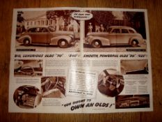 AUTOMOBILIA - A 1939 copy of Oldsmobile Pictorial News - fold out double sided poster brochure (
