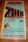"ZULU (1964) US DOM Three Sheet (81"" x 41"") Folded and in two sections design the overlap as issued."