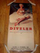 "DITZLER AUTOMOTIVE - 1950s Wall hanging calendar display poster (22"" x 45"") Metal strips top and"