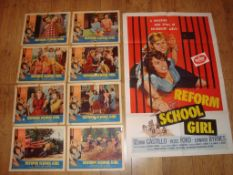 """REFORM SCHOOL GIRL (1957) US One Sheet (27"""" x 41"""") Folded together with a complete set of 8 US Lobby"""