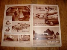 "AUTOMOBILIA - A 1953 Willys Aero Automobile double sided fold out poster brochure (16"" x 20"" -"