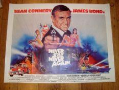 "NEVER SAY NEVER AGAIN (1983) James Bond Main Art UK Quad Film Poster (30"" x 40"") Rolled,"