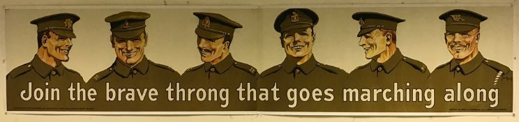 BRITISH ARMY RECRUITMENT BANNER 'Join the brave throng that goes marching along' (1914) - with