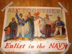 "NAVY RECRUITMENT POSTER ""All Together! Enlist in the Navy"" - Believed to be US- (31"" x 43"")"