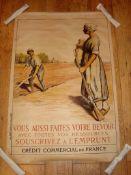 CREDIT COMERCIAL DE FRANCE (1917) War Effort- French Advertising Poster (80cm x 120cm) Linen Backed