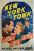 """NEW YORK TOWN (1941) US One Sheet (27"""" x 41"""") - Style A (Fred MacMurray & Mary Martin) 41 x 27in. ("""