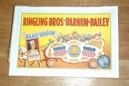 RINGLING BROS AND BARNUM AND BAILEY (c1943) Combined Shows = 'Liberty' Bandwagon. Linen Backed