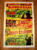 """BLOOD-O-RAMA' (1967-1974 ) Four feature - US One Sheet (27"""" x 41"""") (Blood Fiend, The Blood Drinkers,"""