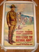 "MILITARY TRAINING CAMPS - 'WHO LEADS THE NATIONAL ARMY!' - US (28"" x 41"" ) Rolled - Linen Backed"