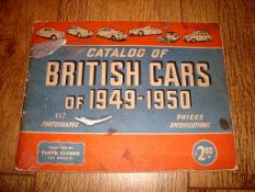AUTOMOBILIA - A Floyd Clymer Catalog of British Cars of 1949-1950 - some damage to cover but