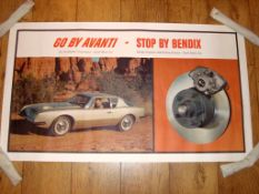 "STUDEBAKER / BENDIX (1960s) Promotional Poster - circa 1960s (40"" x 23"") Rolled"