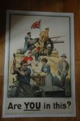 BRITISH WORLD WAR 1 PROPOGANDA POSTER (1915) Parliamentary Recruiting Committee 'Are You in This?' -