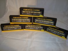A group of N Gauge coaches by Farish - to include a restaurant coach and first and second class