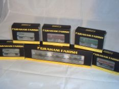 N Gauge - A group of Farish vans and wagons to include brake vans and horse boxes in various