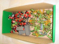 General Toys - A selection of Britains plastic soldiers to include infantry and guardsmen band