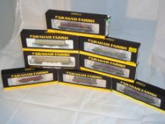 N Gauge - A group of Farish vans and wagons to include Bolster wagons and box vans in various