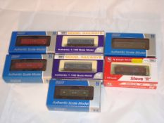 A group of N Gauge vans by Dapol - to include CCT vans and a Stove R mainly in various BR
