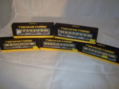 A group of N Gauge coaches by Farish - to include first and second class corridor coaches - in BR