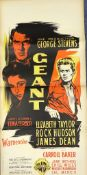 """GIANT - 'GEANT' (1957 first release in France) - 14.25"""" x 29.5"""" (36 x 75) - French Small Affiche -"""