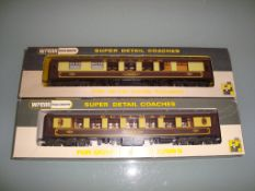 A pair of Wrenn Pullman coaches comprising Aries and Car No 73 both with brown tables - Very Good,