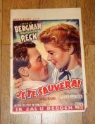 JE TE SAUVERAI (1945) (Spellbound - Hitchcock) - Belgian Affiche 1950s re-release - folded