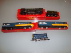 A boxed TRI-ANG Britannia Loco and tender together with an unboxed HORNBY Diesel shunter and