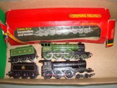 A pair of Hornby Class B12 locomotives, one in LNER green (part boxed), one repainted and detailed