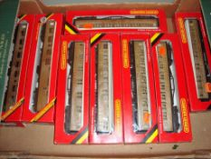 A group of Hornby coaches all in LNER teak livery as lotted - Good, Good boxes (8)