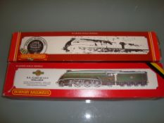 "A pair of Hornby Class A4 locomotives, one in LNER blue ""Seagull"", one in BR Green ""Mallard"" -"